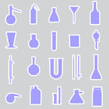 Chemistry laboratory glassware stickers Royalty Free Stock Photos