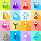 Chemistry laboratory icons set, flat style. Chemistry laboratory icons set. Flat illustration of 16 chemistry laboratory vector icons for web Stock Photo