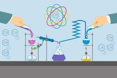 Chemistry laboratory infographic flat elements. Royalty Free Stock Image