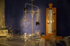 Chemistry laboratory. Old style test tubes in chemistry laboratory royalty free stock photography