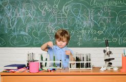 Chemistry laboratory. Practical knowledge concept. Study grants and scholarship. Wunderkind and early development. Smart. Children performing chemistry test stock images