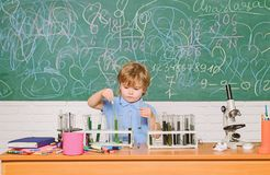 Chemistry laboratory. Practical knowledge concept. Study grants and scholarship. Wunderkind and early development. Smart royalty free stock photography