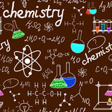 Chemistry laboratory seamless pattern on dark green school board Stock Image