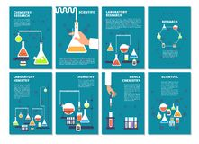 Chemistry laboratory testing. Pharmacy processing and science medical research lab. Vector book covers, brochure. Template. Illustration of pharmacy lab poster stock illustration