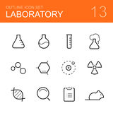 Chemistry laboratory vector outline icon set Royalty Free Stock Image
