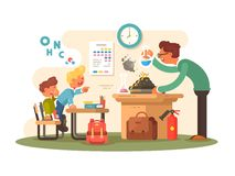 Chemistry lesson in classroom stock illustration