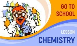 Chemistry lesson concept banner, cartoon style stock illustration
