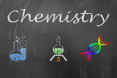 Chemistry lesson on school blackboard concept Royalty Free Stock Photography