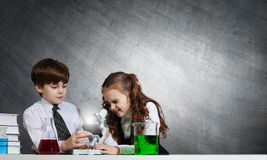 At chemistry lesson Royalty Free Stock Photography