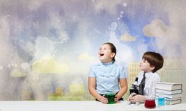 At chemistry lesson Royalty Free Stock Photo