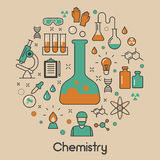 Chemistry Line Art Thin Icons Set with DNA and Chemical Elements Royalty Free Stock Photos