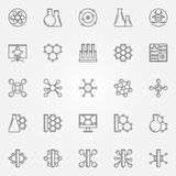 Chemistry line icons set. Vector science linear symbols. Chemical and chemistry pictograms or logo elements in thin line style Stock Image