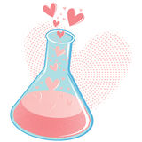 Chemistry of Love Concept or Love Potion. When there is love, there is some kind of chemistry happening. This glass beaker is bubbling with all the chemicals of Stock Photos