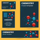 Chemistry, molecule, atomic theme business card, badge, poster a vector illustration