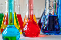Chemistry multicolored. Precision glass vial are needed in chemistry to manipulate accurately, many colored chemicals are involved Stock Images