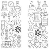 Chemistry Pharmacology Natural sciences Vector doodle set Stock Photo