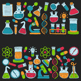 Chemistry Pharmacology Natural sciences Vector doodle set Royalty Free Stock Photo