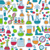 Chemistry Pharmacology Natural sciences Vector doodle set Stock Photography