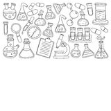 Chemistry Pharmacology Natural sciences Vector doodle set Stock Photos