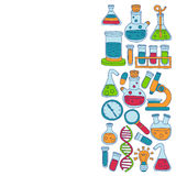 Chemistry Pharmacology Natural sciences Vector doodle set Stock Images