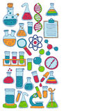 Chemistry Pharmacology Natural sciences Vector doodle set Royalty Free Stock Images