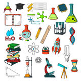 Chemistry, physics, mathematics education sketches Royalty Free Stock Image