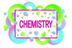Chemistry poster. chemical vector design in a trendy style. 3d gradient shapes on a white background. Bright colors. Blue, light g royalty free illustration