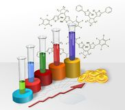 Chemistry progress. Colored cylinders progress chart of chemical research and development Stock Photos