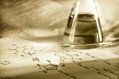 Chemistry with reaction formula. In toning Royalty Free Stock Image