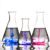 Chemistry recipient with ink color Royalty Free Stock Image