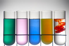 Chemistry recipient with ink color. A Chemistry recipient with ink color inside stock photo