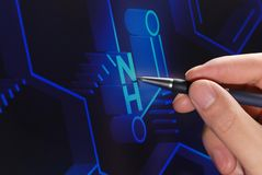 Chemistry research. In front screen royalty free stock images