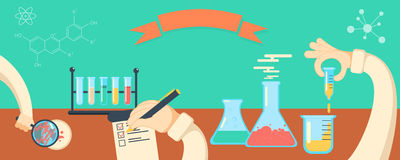 Chemistry research horisontal vector banner Royalty Free Stock Photography