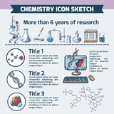 Chemistry research infographic sketch Stock Photos