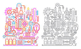Chemistry Research Laboratory. Colorful and greyscale variants on a white background modern research laboratory vector illustration Royalty Free Stock Images