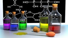 Chemistry, School, Color, Bottles Stock Image