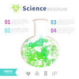 Chemistry science concept. Design template for infographics. Watercolor green bubbles in test tube Stock Images