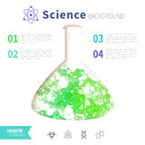 Chemistry science concept. Design template for infographics. Watercolor green bubbles in test tube Royalty Free Stock Photography