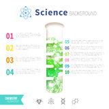 Chemistry science concept. Design template for infographics. Watercolor green bubbles in test tube Royalty Free Stock Photos
