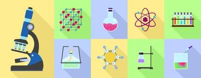 Chemistry science icon set, flat style stock illustration