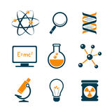 Chemistry and science icons. Chemistry and bio technology science icons set Stock Photography