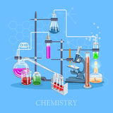 Chemistry and science infographic. Chemistry icons background for biology and medical research posters Stock Images