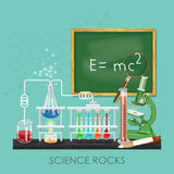 Chemistry and science infographic. Science rocks. Chemistry icons background for biology and medical research posters Royalty Free Stock Image