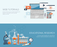 Chemistry and science infographic. Web tutorials. Chemistry icons background for biology and medical research posters Stock Images