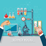 Chemistry and science infographic. Web tutorials and research. Chemistry icons background for biology and medical research posters Royalty Free Stock Photography