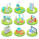 Chemistry Science Lab Isometric. Pharmaceutics, Research Experiment, Chemical Technology. Vector flat 3d illustration Stock Image