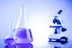 Chemistry science, Laboratory glassware background Stock Photography