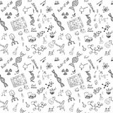 Chemistry and science seamless pattern with sketch elements Hand Drawn Doodles background Vector Illustration Stock Image