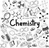 Chemistry science theory and bonding formula equation, doodle ha Royalty Free Stock Photos