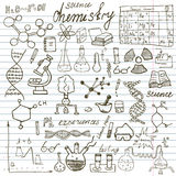 Chemistry and sciense elements doodles icons set. Hand drawn sketch with microscope, formulas, experiments equpment, analysis tool Royalty Free Stock Image